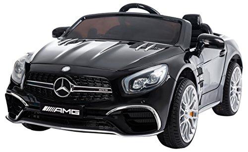 RunRunToys Coche Mercedes SL65 eléctrico de 12V para para niños a Partir de 3 años con Pantalla Display y Entrada mp3 Color Negro Herrajes Multimec 4012