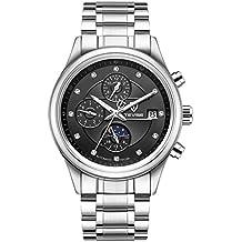 HUAN Relojes Impermeables para Hombre Pulsera Plateada Oro del Reloj automático del Negocio Casual Pulsera Plateada