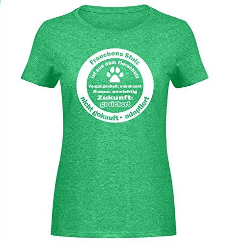 FRAUCHENS STOLZ - Tierschutz Hunde T- Shirt fürs Gassi | Tierheim gerettete Tiere - Damen Melange Shirt -M-Heather Green - Hund Puppy T-shirts T-shirts