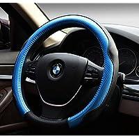 EarthSafe® Microfibra copertura del volante dell'automobile in pelle, Universal 38 centimetri morbido Wrap Volante traspirante (Blu)