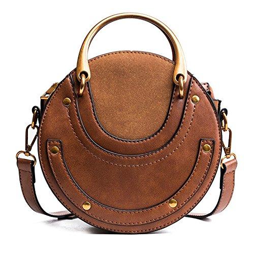 TOOGOO Scrub circolare in pelle PU Borse da donna Retro' borsa rotonda in metallo Mini Borsa a tracolla (Marrone)