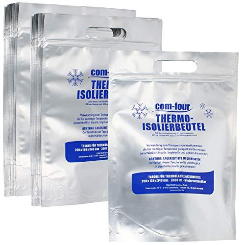 Com-four® 20x borsa termoisolante per il trasporto di medicinali - borsa termica per insulina, vaccini e farmaci - sacchetto con chiusura a pressione (20 pezzi)