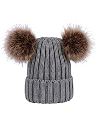 YeahiBaby Pack de 2 sombreros de punto padre e hijo con gorro de invierno  Pom Pom f8cfe448763