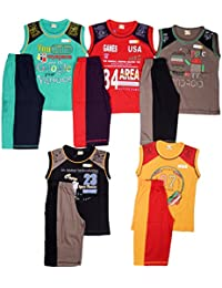 1lyShirts Boys' Sleeveless T-Shirt & 3/4 Set with five attractive colors with print design