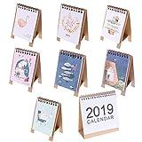 Calendrier de bureau 2018 mignon dessin animé Calendrier de bureau mensuel Flip Bureau Calendrier journalier Planning de table 8 Pack