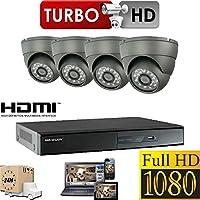 HIKVISION SISTEMA TVCC 1080P FULL HD PACCHETTO KIT INCLUDE 1TB HDD 4X TELECAMERA DI SICUREZZA ESTERNO 2.4 MEGA PIXEL CUPOLA 4CH DVR HDMI P2P