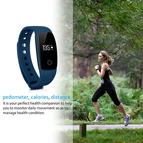 DIGGRO ID107 – Fitness Armband mit Herzfrequenz Sensor (OLED Display, Smart Armband Fitness Tracker mit Pulsmesser Aktivitätstracker Schrittzähler Schlafanalyse Kalorienzähler für ios Android) - 2