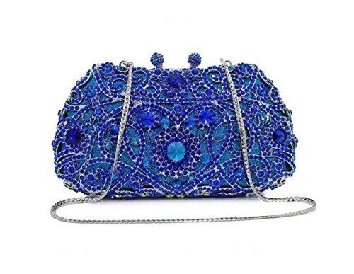 Diamant-Weinlese Herzförmige Diamant-Handtasche Abendessen Tasche Handtasche Darkblue
