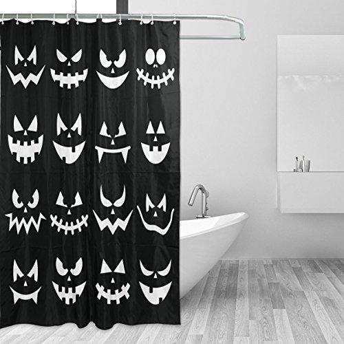 COOSUN Scary Halloween Kürbis-Gesichter auf schwarzem Hintergrund Duschvorhang Set Polyester-Gewebe Wasserabweisend Badezimmer Duschvorhang Set Hauptdekoration mit Haken, 66W X 72L Inches 66x72 Mult