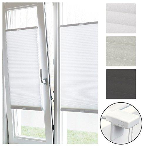 Sol Royal Plissee Klemmfix SolDecor P26 75x220 cm Weiß - Plisseerollo Ohne Bohren - Rollo Fenster & Türen