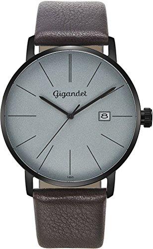 Gigandet Reloj Hombre Cuarzo Minimalism Analógico Correa de Cuero Gris Marrón G42-011