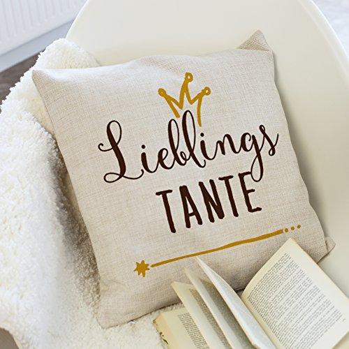 Herz & Heim® Kissen für Lieblingsmama/Lieblingsfreundin/Lieblingsschwester/Lieblingsoma usw. in Leinenoptik