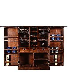 Mamta Handicraft Bar Cabinet (Natural Finish, Brown)