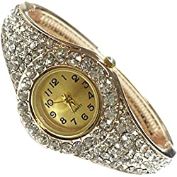 Women's Watches,HARRYSTORE Chic Fashion Rhinestone Rose Golden Bracelet Wrist Watches