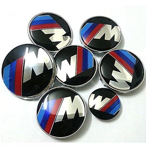 Set von 7B M W M Power, M Sport Legierung Felgendeckel, Motorhaube, Kofferraum und Lenkrad Logo Badges