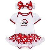 YiZYiF 2tlg. Baby Mädchen Kleid Weihnachten Bekleidung Set Strampler Tütü Bodys + Kopfband Weihnachtsgeschenk für 0-12 Monate #3 Weihnachtsmann 0-3 Monate