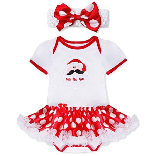 YiZYiF 2tlg. Baby Mädchen Kleid Weihnachten Bekleidung Set Strampler Tütü Bodys + Kopfband Weihnachtsgeschenk für 0-12 Monate #3 Weihnachtsmann 3-6 (Outfit Halloween Mädchen)
