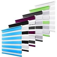 Estor Enrollable Noche y Día verde gris blanco para ventanas y puertas doble rollo tejido poliéster 95 x 150 cm