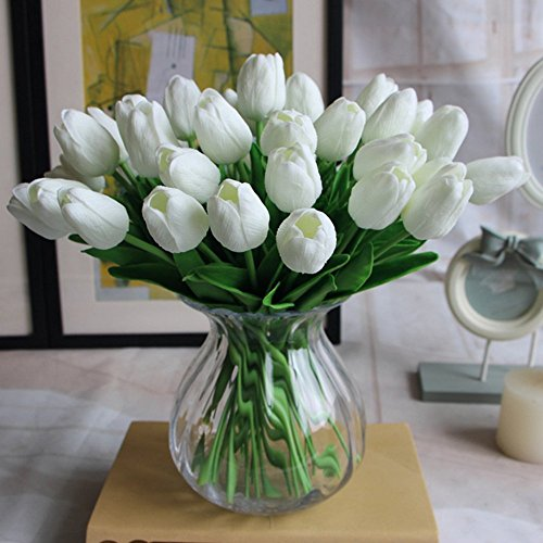 NNIUK 10 Pezzi Tocco Reale Del Lattice Artificiale Del Tulipano Fiori Per Wedding Bouquet, Casa Decor Garden Decor, Simulazione Reale Di Tocco Tulipano Colorato Per San Valentino Regalo Di Compleanno Di Natale, Bianca
