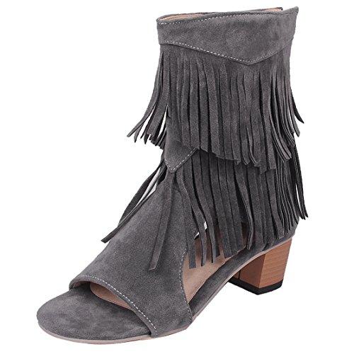 AIYOUMEI Damen Offen Blockabsatz Sandalen mit 5cm Absatz und Fransen Chunky Heel Sommer Stiefel