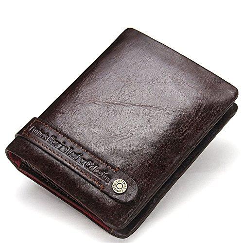 Boombee-bag Herrenbrieftasche Lederprägung Klassische Mann Geldbörse nehmen ID Karte Paket Tasche Null Brieftasche praktische Reißverschlusstasche Geld Tasche Business Casual tägliche Clutch - Natur Talkum-puder