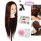 Beautystar 75 cm Yaki cosmétologie Tête Mannequin Mannequin de Formation de coiffure de cheveux synthétiques avec pince de support et cadeaux