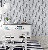 YAGNBAO Wandtapete Mode Pvc Schwarz Weiß Silber Striped Präge Tapete 3D Moderne Wohnzimmer Wasserdicht Vinyl Strukturierte Streifen Tapetenrollen Grau