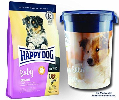 2 x 10 kg + Futtertonne 43 Liter Happy Dog Supreme Baby Original