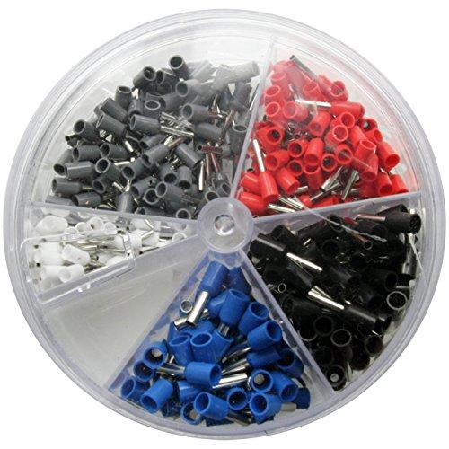400 x Aderendhülsen-Sortiment Set Quetschverbinder Kabelverbinder - isoliert - Querschnitt 0,5-2.5mm² Länge 8 mm in Weiss, Blau, Rot, Schwarz und Grau (im Aufbewahrungsdose / Sortimentsbox)