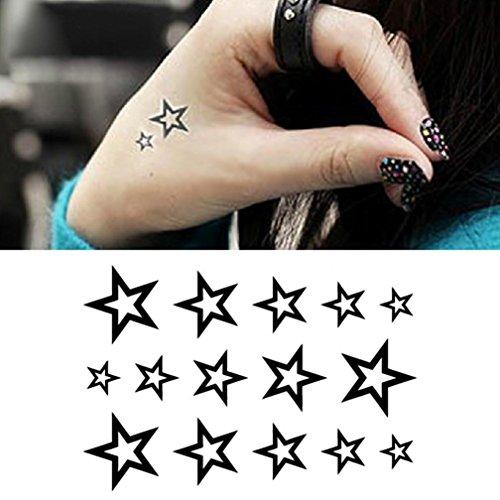 Temporäre Tattoos, Oyedens 10pcs PersöNliche Wasserdicht Pentagramm Hohlen Tattoo-Aufkleber (Temporäre Tattoos Für Männer Chinesische)