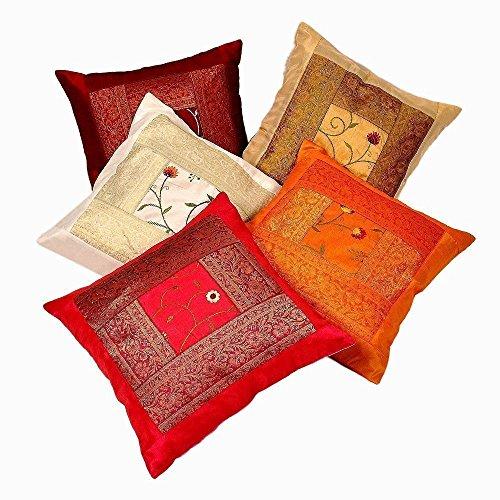 Sophia Art Indian handgefertigt Sari Silk Ethnische Baumwolle Kissenbezug Decor Vintage Kissen Bezüge, dekoratives Sofa Bezug 40,6x 40,6cm 10PCS (Multi) -