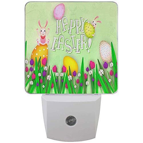 Happy-Easter-Background_1302-16072 Connettore per luce notturna per camera da letto Bagno Cucina Corridoio, Primavera Floreale Croce Uccello Luci notturne Auto Senor Dusk to Dawn, 2pz