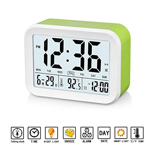 GuDoQi Despertador Digital Reloj Que Habla con 3 Alarmas Luz de Fondo Inteligente Función Snooze Fecha y Pantalla de Temperatura