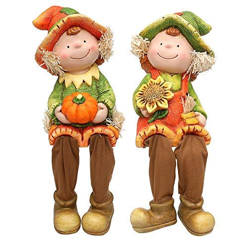 SIGRO Gold Keramik Garten-Herbstkind groß Kantensitzer orange/grün 2-Fach sort. 18 x 20 x 41 cm im Set