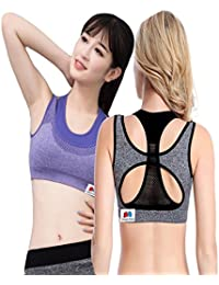 GRAPPLE DEALS Combo of 2 Women s Comfort Revolution Workout Fitness Sports  Bras Fake Two Pieces Yoga Athletic Gym Padded Seamless Strap… 46e08400aea