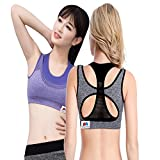 GRAPPLE DEALS Women's Cotton High Impact Underwire Padded Sports Bras with Seamless Strap Racerback(DoubleSportBra, Medium) - Pack of 2 Pieces