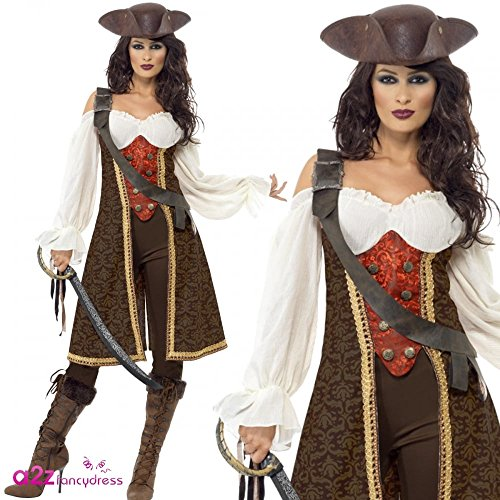 High Seas Pirate Wench Costume, Brown, with Dress, Trousers and Baldric, in Display (Wench Kostüme Für Erwachsene Pirate)
