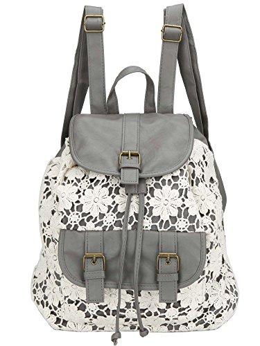 Owbb® Retro Damen Mädchen Weiß Blumen Spitze Grau PU Leder Drucken Rucksack Reisetasche / Kinder Schulrucksäcke