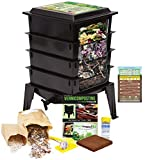 Black : Worm Factory 360 Worm Composting Bin + Bonus 'What Can Red Wigglers Eat?' Infographic Refrigerator Magnet (Black) - Vermicomposting Container System - Live Worm Farm Starter Kit for Kids & Adults