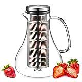 Ecooe Glaskaraffe Fruit Infuser Glaskrug aus Borosilikatglas Wasserkrug mit Edelstahl