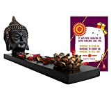 #5: TiedRibbons® Rakshabandhan Gifts for Sister Buddha Head on Wooden Tray with TeaLight and Potpourri