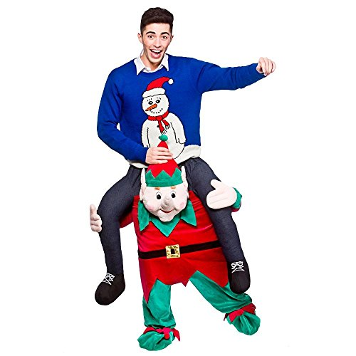 (Peeks Adult Carry Me Elf Christmas Fancy Dress Costume Full Outfit One Size)