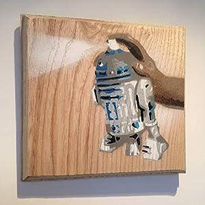 R2 D2 Star Wars Spraydose - Weihnachtsgeschenk Geschenk für ihn/sie - handgemachte Street Art Graffiti Bild Malerei auf Englisch Eiche - Atom Größe Kunstwerk 10 x 13 cm (12-Schicht-Schablone)