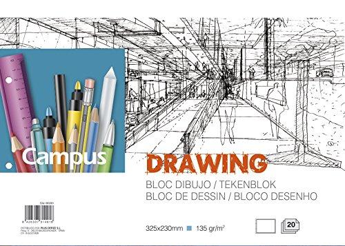 5x Zeichenblock Kunst Lux Campus University kopfgeleimt 2Bohrmaschinen LI. A4130gr