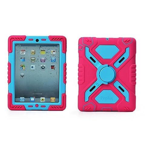 Hot Neu Ipad Mini Fall-Silikon-Kunststoff-Kid Proof Extreme Duty-Dual-Protective Schutzhülle mit kickstand und Aufkleber für iPad - Regenfest Staubdichte Stoßfest (Rosa /