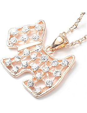 QUADIVA C! Damen Halskette Kette mit Anhänger Lovely Dog (Farbe: rosegold) verziert mit funkelnden Kristallen...