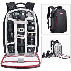 Beschoi Mochila Fotográfica Multifunción y Impermeable para Cámaras Réflex Digital SLR Lente Trípode Flash Laptop Portátil Canon Nikon Drone y Accesorios, Talla L - Negra
