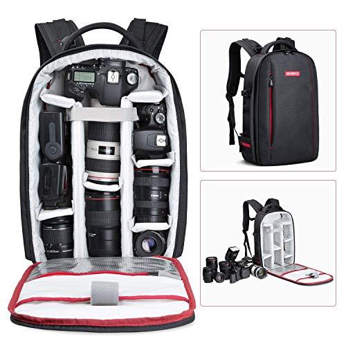 dslr rucksack Beschoi DSLR Kamera-Rucksack, Wasserdichte Kameratasche für Sony Canon Nikon Olympus SLR/DSLR Kamera, Objektiv und Zubehör, groß (schwarz).