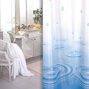 textile rideau de douche blanche bleu goutte 240 x 180 cm qualité bagues inclue 240x180 cm!