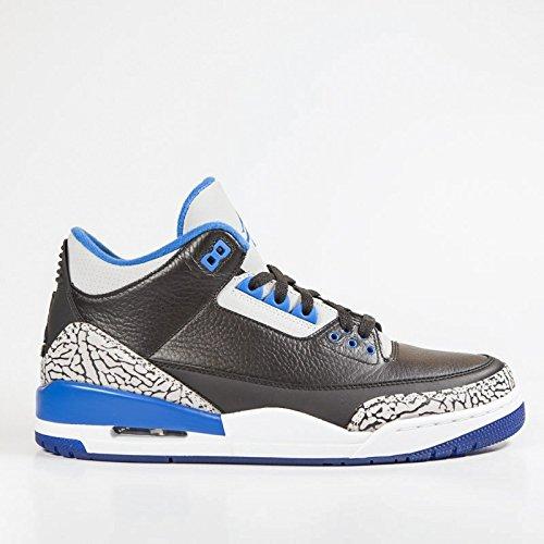 Nike Jungen Air Jordan 3 Retro BG Turnschuhe, Schwarz/Sport Blau-Grauer Wolf, 37 1/2 EU